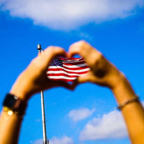 Foto der Flagge USA in der Natur